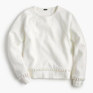 J.Crew NWT White Pom Pom Sweatshirt